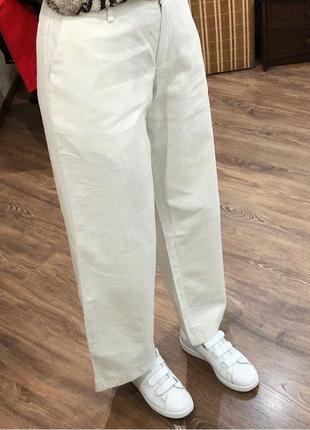 Штаны белые льняные брюки