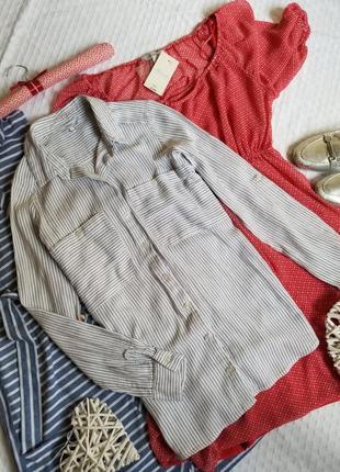 🌼 удлинённая рубашка next в полоску с накладными карманами