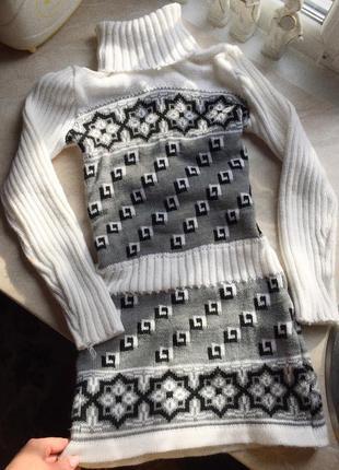 Тёплое вязаное платье с гетрами; вязаная туника, свитер