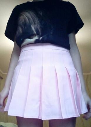 Крутая пастельная юбка с завышенной (высокая) талией и шортиками очень классная