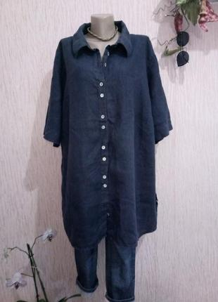 *супербатал* льняная рубашка большого размера uk 26 пог-84см