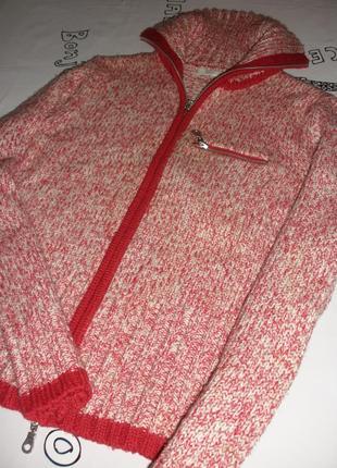 Теплая кофта кардиган жакет свитер шерсть  promod на молнии