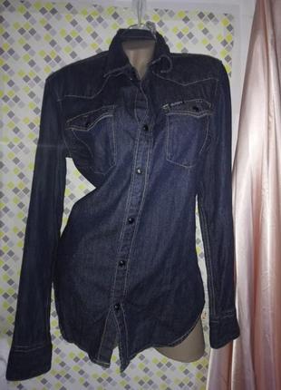 Рубашка джинсовая на кнопках. replay/ размер м-л