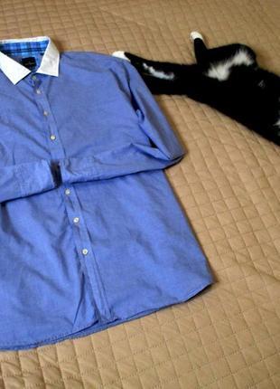 Комбинированная бирюзово-клетчатая рубашка
