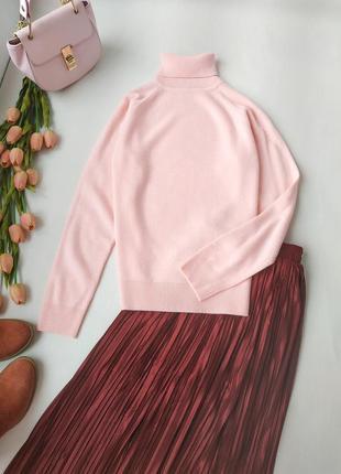 Шикарный 100% шерсть свитер водолазка нежно-розовый размер m