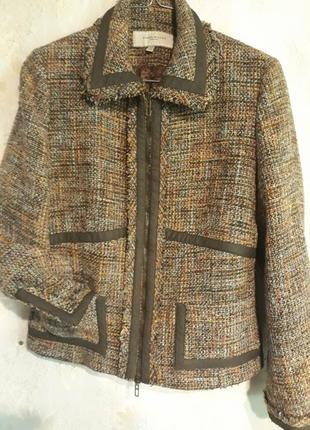 Пиджак твидовый с замшей