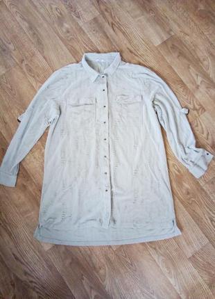 Стильная бледно-ментоловая рубашка рванка большой рр. 20-22 рр.
