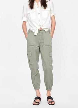 Брюки карго, с накладными карманами, штаны на высокой талии