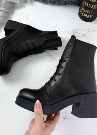 Ботинки сапоги обувь на зиму кожа на каблуке