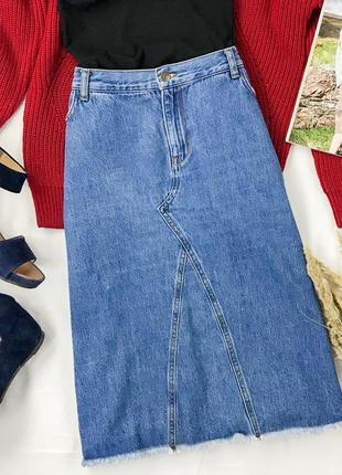 Модная джинсовая юбка длины миди  ki1945039  tu