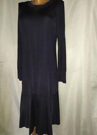 Темно-синее платье миди известного бренда cos 48%коттон 41%вискоза/можно для беременных