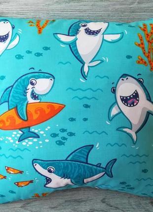 Подушка веселі акули,  35 см * 35 см