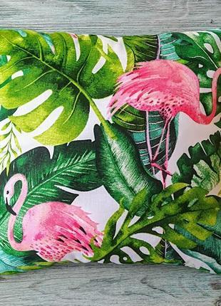Подушка фламінго і тропіки,  35 см * 35 см