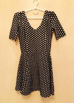 Платье в горошек трапеция чёрное с белым в горох тёплое