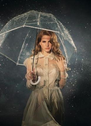 Прозрачный женский купольный зонт трость полуавтомат . купол грибком