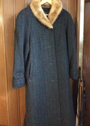 Зимнее новое элегантное темно-серое пальто с норковым маленьким воротником рост высокий