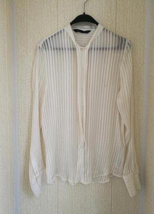 Белоснежная шелковая блуза,рубашка с серебристой нитью zara