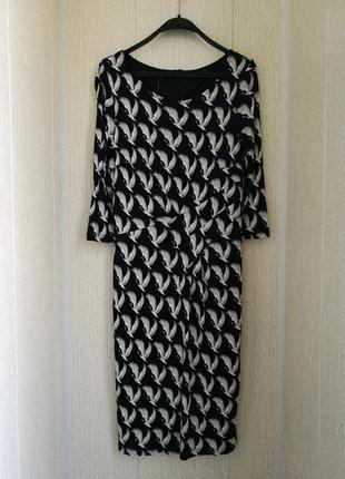 Стильное платье миди,оригинальный принт лебеди,laurel