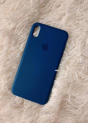 📱 чехол для iphone xs max синий apple case