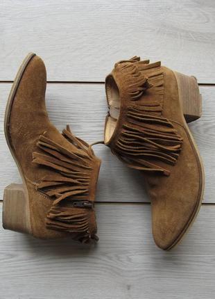 Рыжие замшевые полуботинки ботинки челси с бахромой от san marina