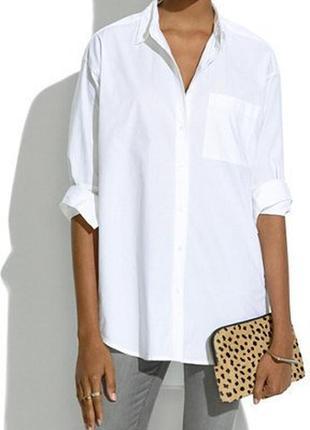 Базовая хлопковая белая оверсайз рубашка от  next