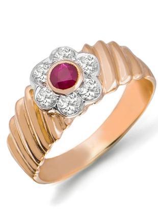 Золотое кольцо с рубином и бриллиантами 0,36 карат 17,5 мм. желтое золото. новое