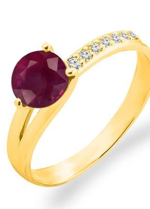 Золотое кольцо с рубином и бриллиантами 0,07 карат 17 мм. желтое золото. новое