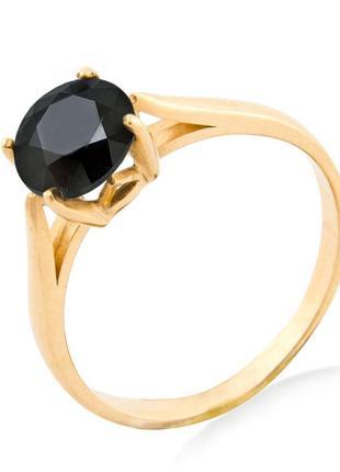Натуральный черный бриллиант 2,00 карата золотое кольцо 17,5 мм. желтое золото