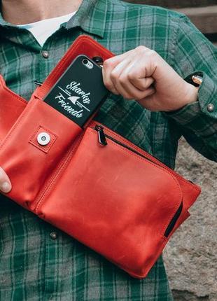 Красная кожаная бананка, поясная сумка, нагрудная бандитка