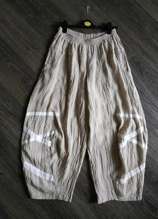 Льняные штаны в стиле бохо