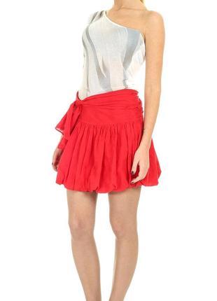 Срочная распродажа! красная юбка-балон с бантом и деликатной вышивкой sasch