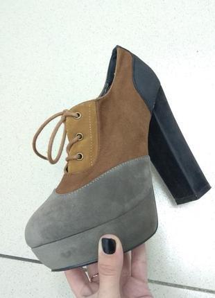 Осенние ботиночки под нубук на высоком каблуке