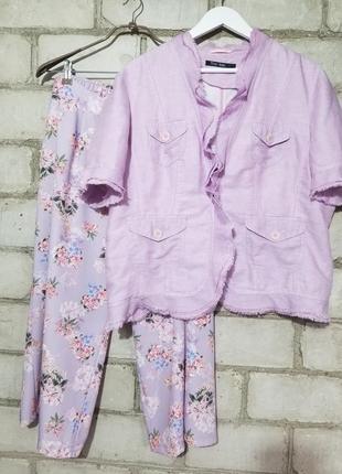 Лавандовый жакетик блуза пиджачек лен рюши бахрома