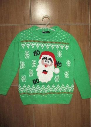 Рождественский свитер джемпер санта 7-8 лет
