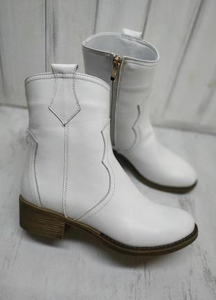 Кожаные ботинки казаки осень-зима