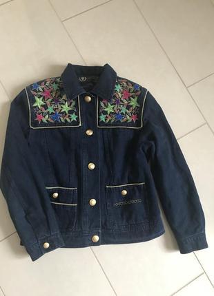 Куртка винтаж джинсовая на подкладке оригинал roccobarocco размер 38 или m