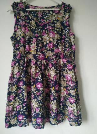 100% котон легкое летнее платье цветочный принт