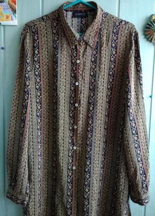 Блуза, рубашка 100% шелк большого размера 18uk