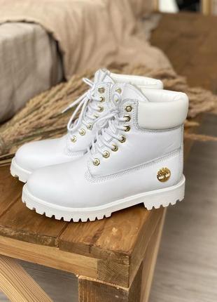 ⛄шикарные белые ботинки timberland 6 inch premium white мех ❄️ кожанные, зимние сапоги
