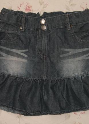 Модная джинсовая юбка подростковая  на резинке
