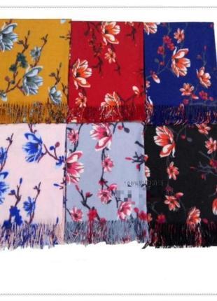 Шикарный кашемировый шарф, палантин cashmere 7580-5 черный цветочный, расцветки
