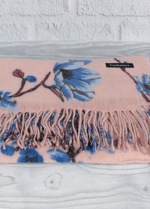 Шикарный кашемировый шарф, палантин cashmere 7580-6 пудра цветочный, расцветки