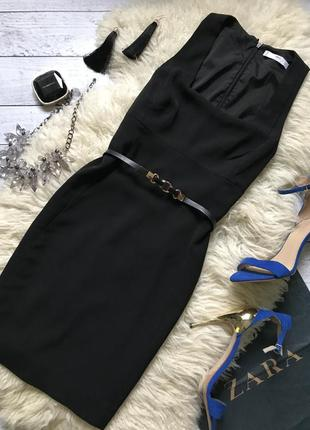 Mango шикарное брючное платье карандаш с квадратным вырезом чёрное