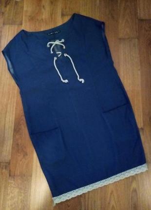 Свободное синее легкое платье деним шнуровка + кружево tess dress
