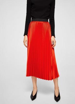 Женская испанская плиссированная миди юбка