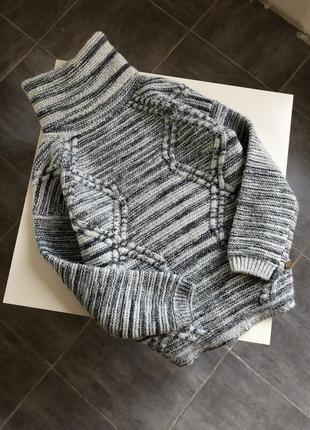 Тёплый объемный свитер шерсть с косами pepe jeans, размер хс