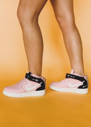 Крутые женские кроссовки nike air force 1 high pink 😍