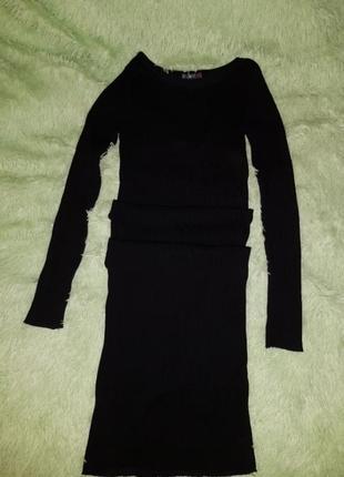 Черное платье лапша в рубчик