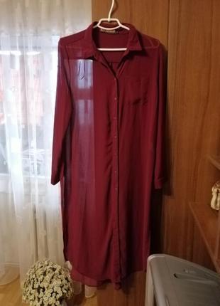 Прозрачное платье-рубашка
