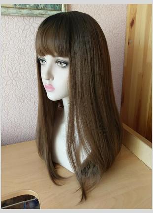 Новый длинный прямой парик с чёлкой ореховый шатен темные корни